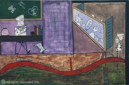 43- Educação no Brasill - Acrílico sobre tela - 30x20cm - 1997