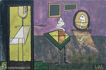 45- Violência em SP - Acrílico sobre tela - 24x16cm - 1997 - liria artist