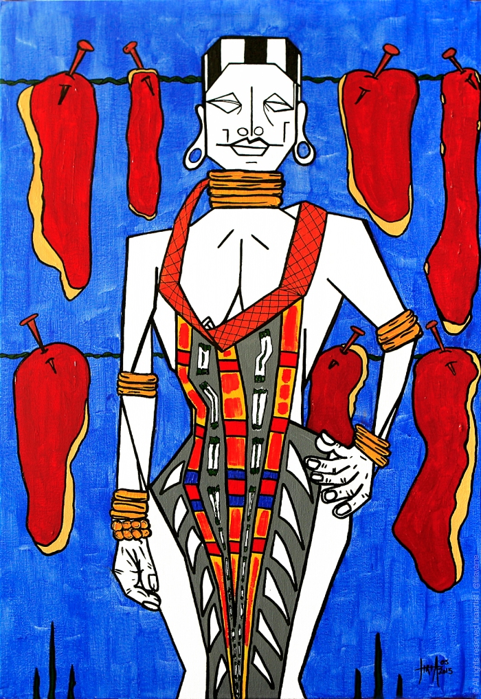 89 - Vendedora de carne - Acrílico sobre Tela - 60x40cm - 2013©