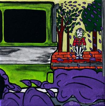 77- Choveu? vai de ônibus - Canvas Board - 20x20cm - 2013